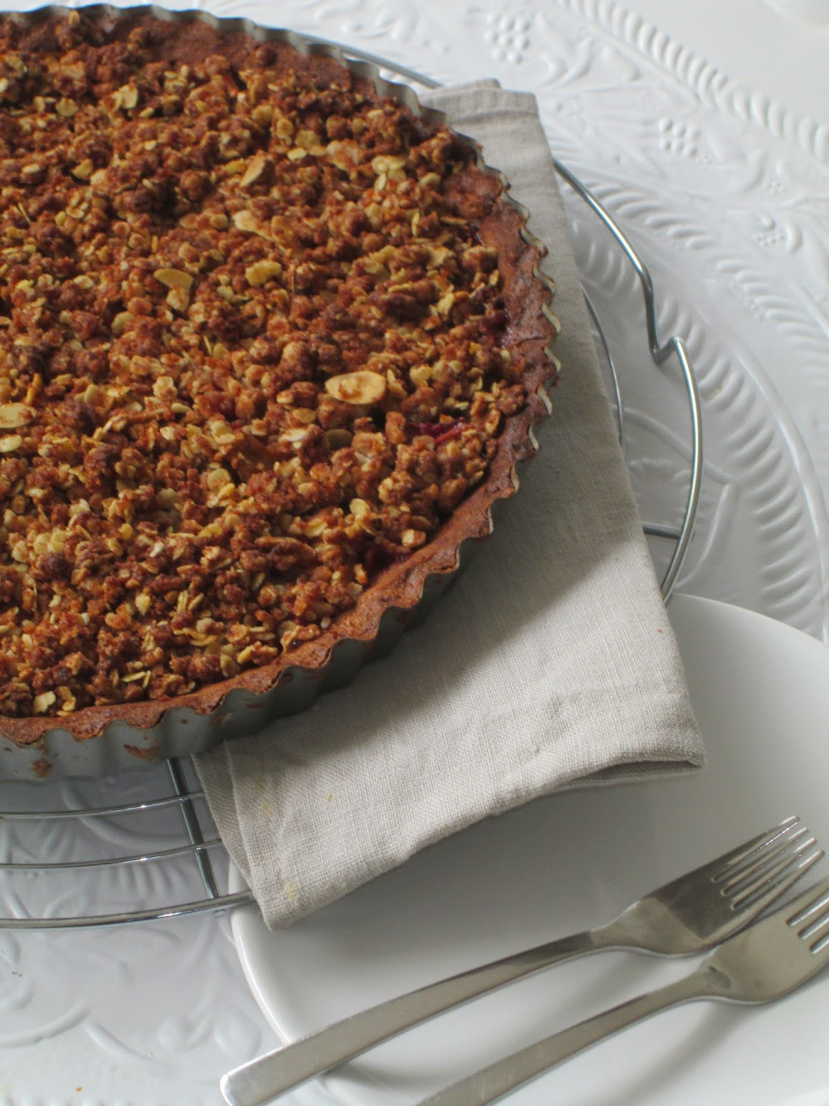 appel rabarber crumble taart