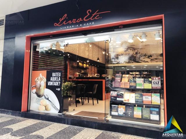 projeto arquitetura fachada loja livraria café