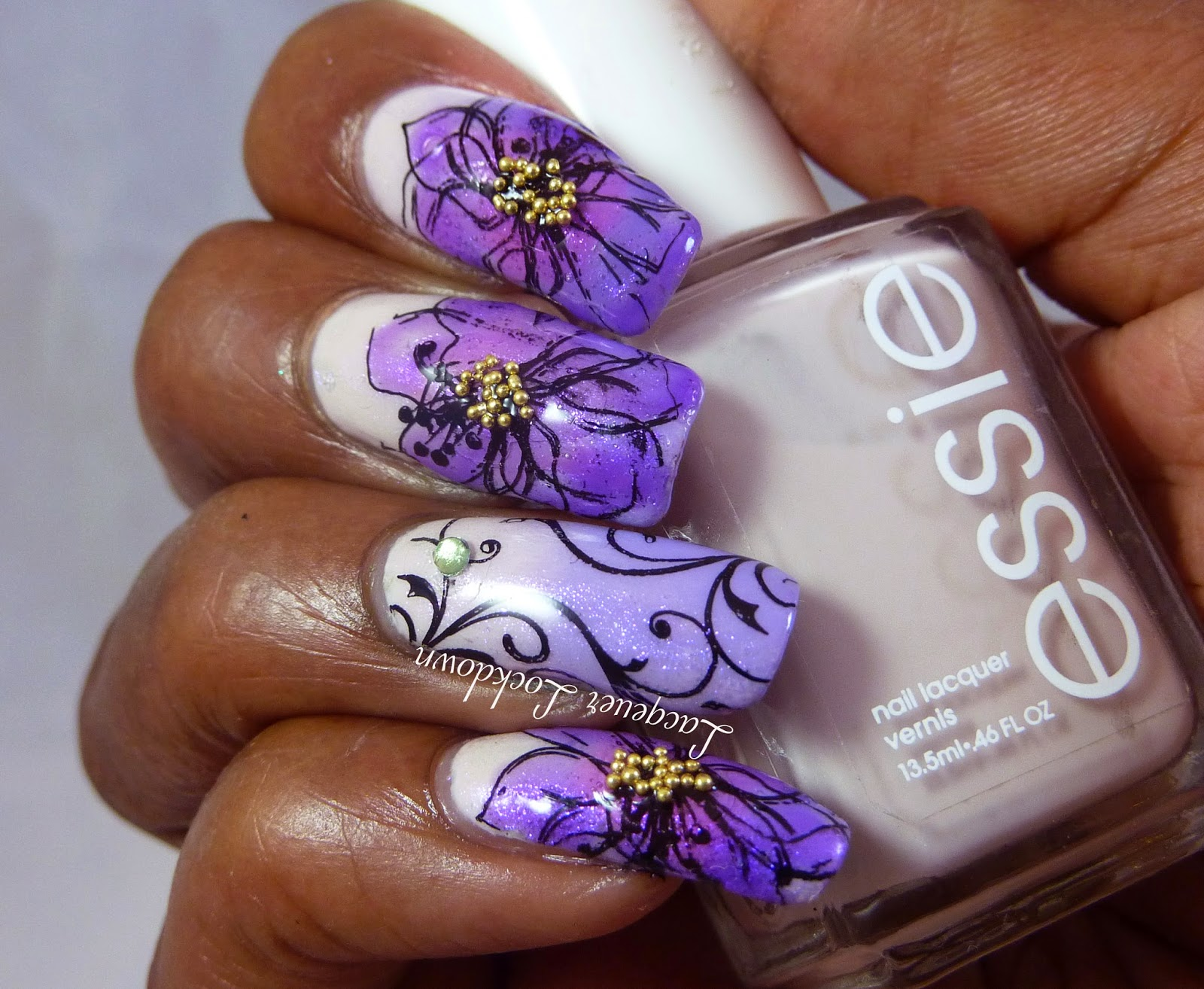 Lacquer Lockdown - nail art stamping blog, UberChic Beauty, UC 1-03, gradient nail art, UberChic Magic Dust, Mad Hatter Magic Dust, flowers, floral nail art, abstract nail art, China Glaze Tart-y For The Party, Essie Urban Jungle, nail art stamping, nail art, diy nail art, cute,