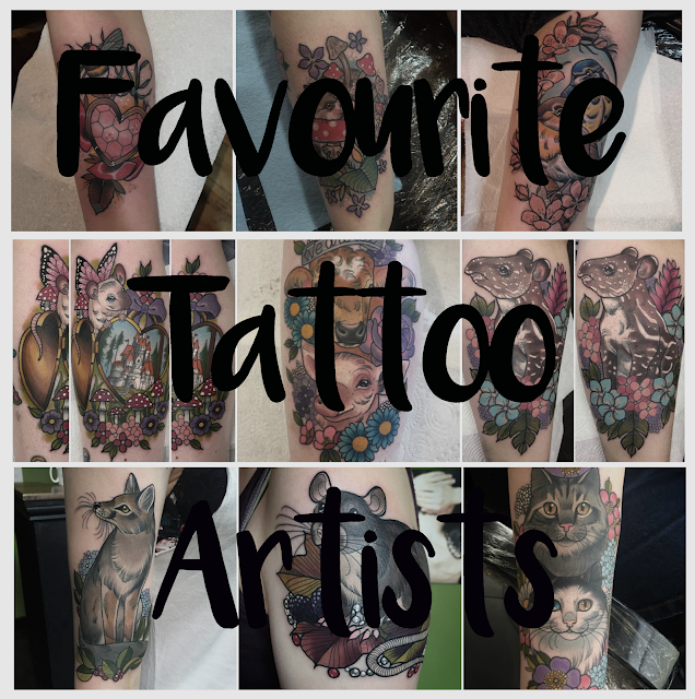 "A collage of tattoos by Ashley Luka, Charlotte Timmons and Jody Dawber with writing ""Favourite Tattoo Artists"""