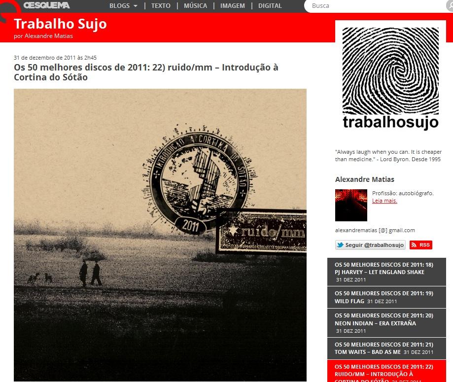 6dd5acfa74b9 Trabalho Sujo - Os 50 Melhores Discos de 2011 (por Alexandre Matias). Essa é  ...