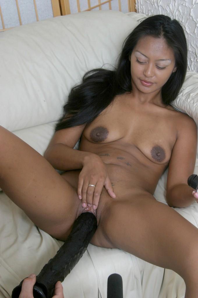 Copper-Skinned Asian Slut Dildo Fucking With A Huge Black -1412
