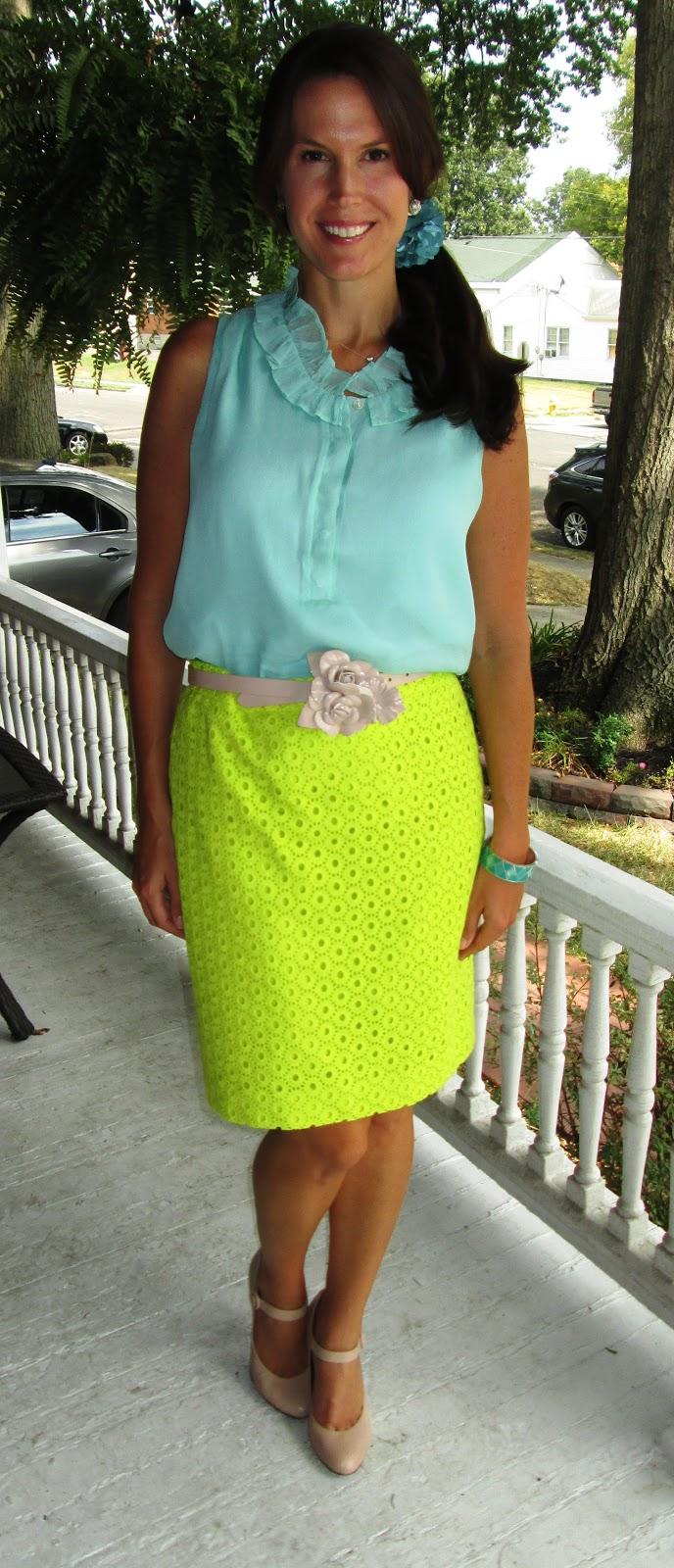 60654abe459 Colorful Corporate  Naomi + Circle Eyelet Skirt