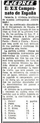 Recorte en Mundo Deportivo de 3 de julio de 1958 sobre el XXIII Campeonato de España de Ajedrez 1958