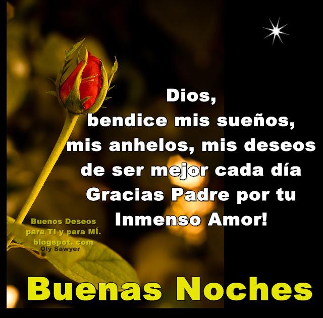 Dios, bendice mis sueños, mis anhelos, mis deseos de ser mejor cada día. Gracias Padre por tu Inmenso Amor!  BUENAS NOCHES !
