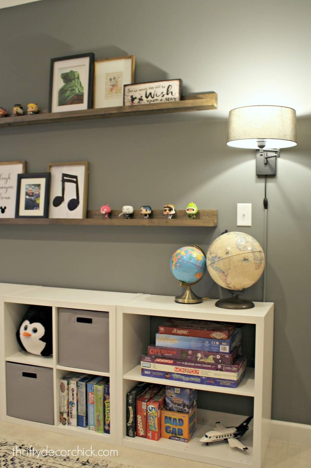Long wood shelves on big wall