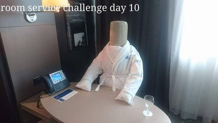 Bored Business Traveler 'Challenges' His Housekeeper In A Funny And Creative Way - One day she walked straight in on a man hard at work in his dressing gown!