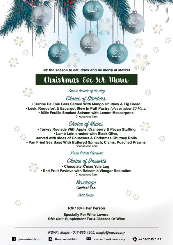 Mezze Wine Bar & Bistro Christmas Eve Set Menu