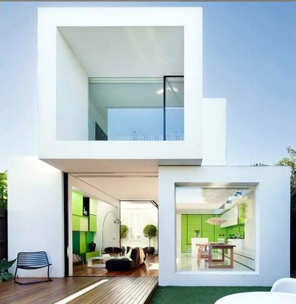 Rumah Minimalis warna putih monokrom