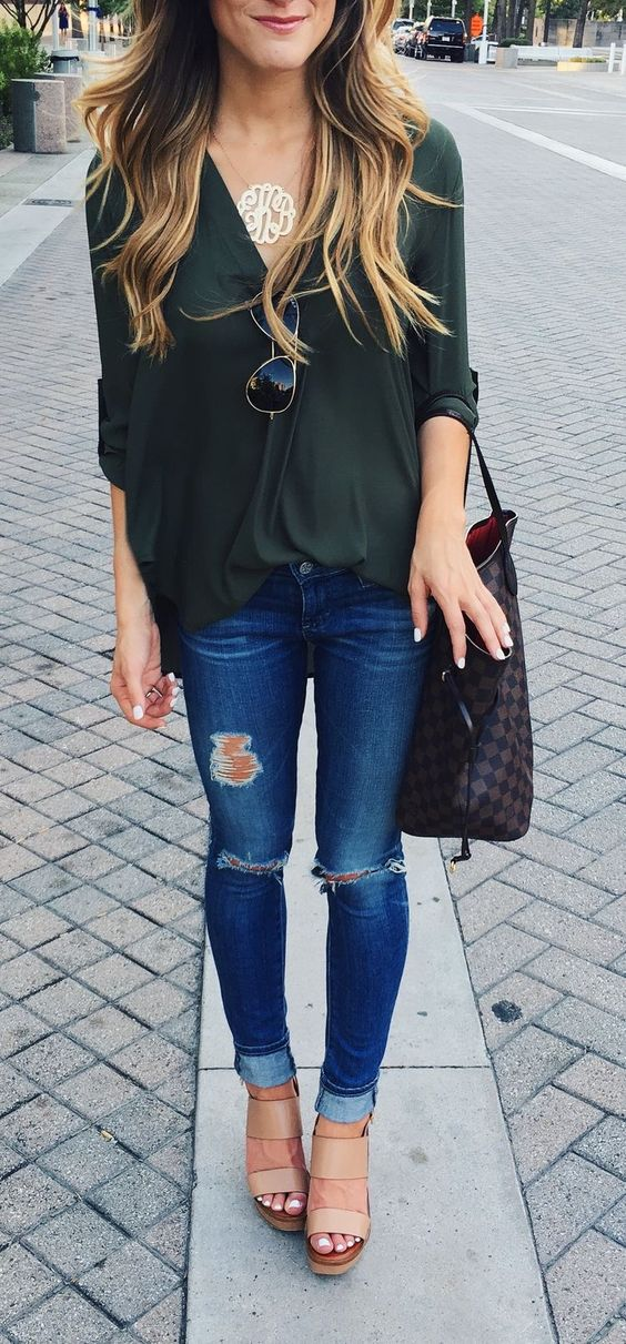 cute street style addict: blouse + bag + jeans