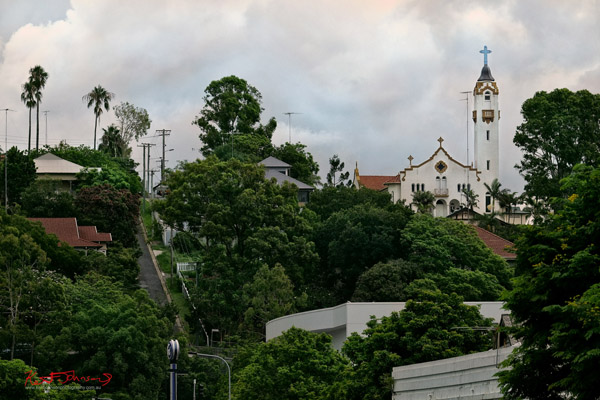 A very steep hill and Our Lady of Victories Spanish Mission Style Church Bowen Hills, Brisbane. Photo by Kent Johnson.
