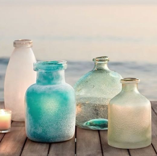 Vases with Ocean Tumbled Sea Glass Frosted Look