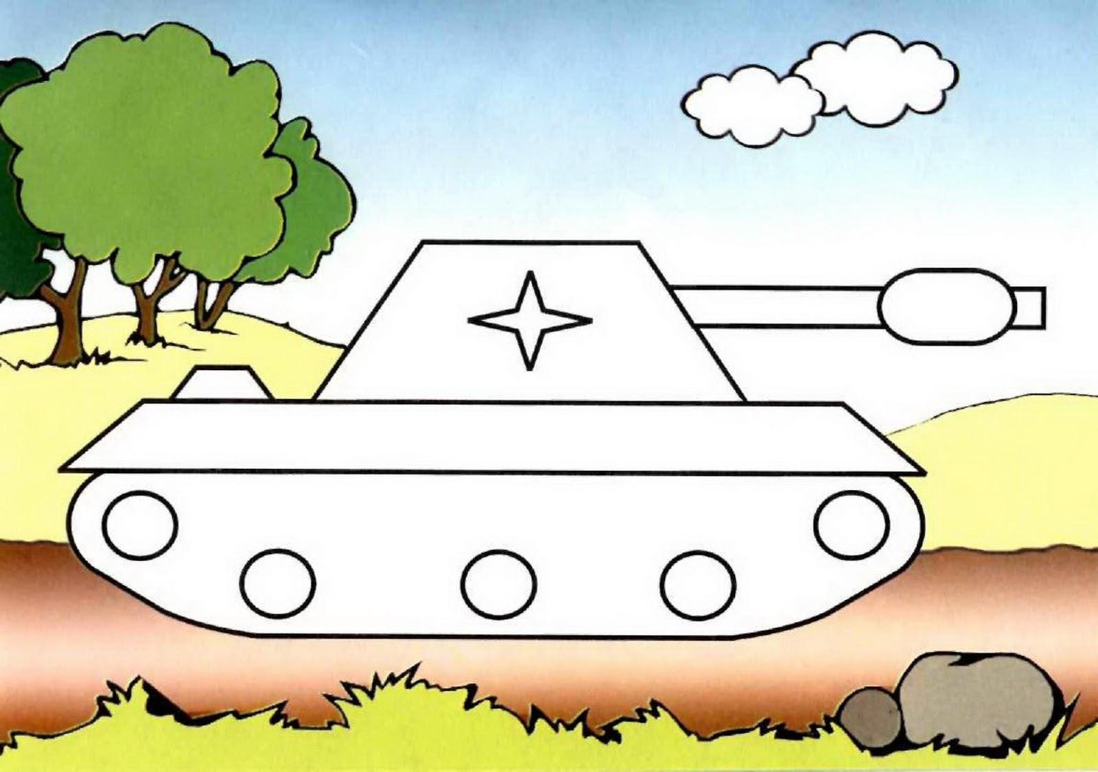Шаблон открытки с танком, картинки