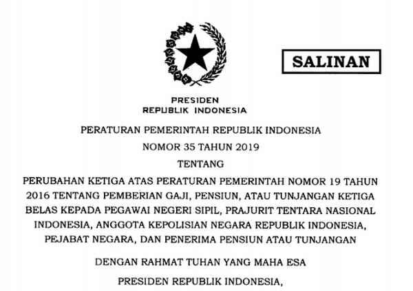 PP 35 Tahun 2019 Tentang Gaji Ke-13 untuk PNS, TNI, POLRI, Pejabat Negara dan Penerima Pensiun atau Tunjangan