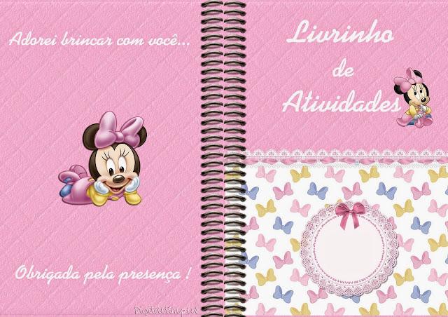 Imprimible carátula de libro para colorear de Minnie Bebé.