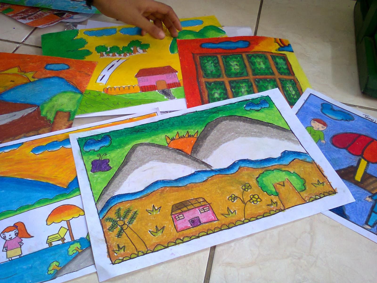 Berhubung si penulis koordinator lomba menggambar jadi ya ini nih hasil dari santri santri TPA Al Falaah Mrican Yogyakarta