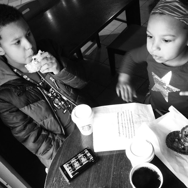 Siblings discussing sibling things at @Starbucks