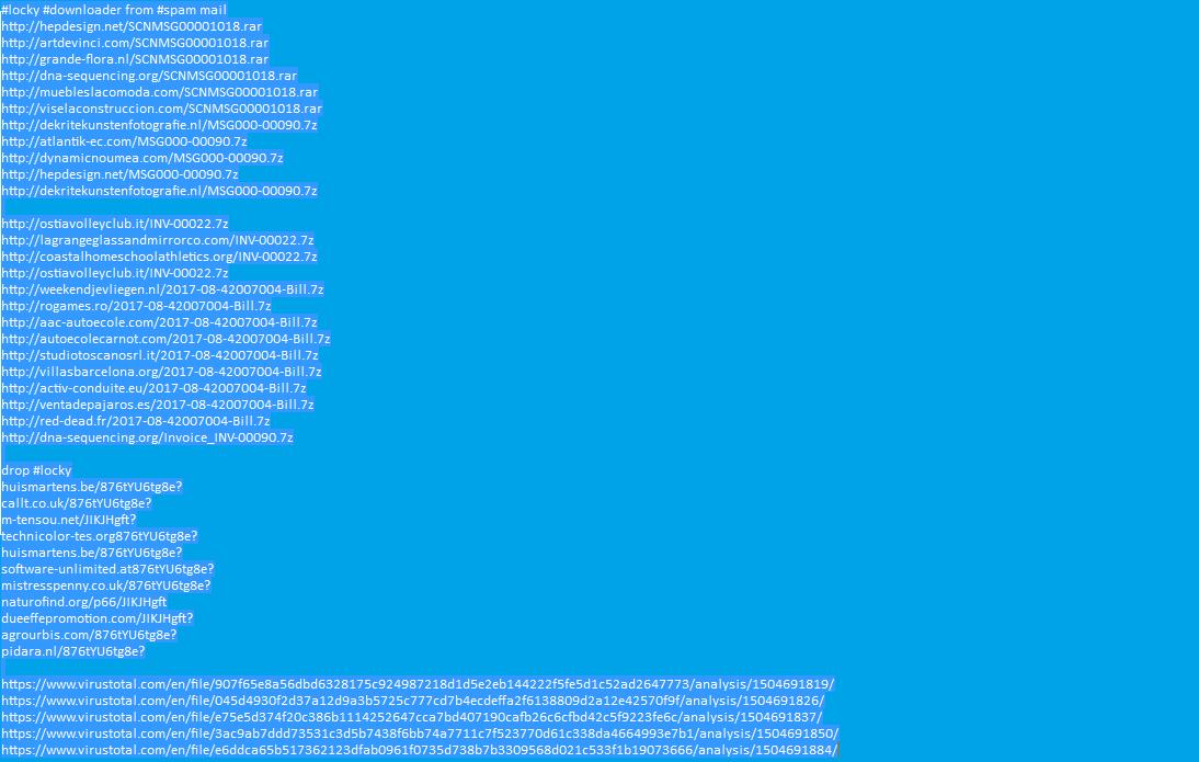 Locky download links for analysis (Pastebin link)