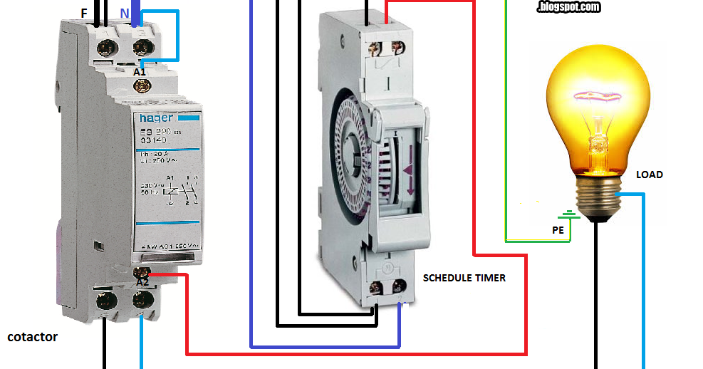 single phase contactor wiring diagram need to connect hager