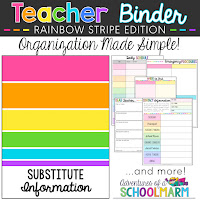 This editable teacher planner will help you stay organized all year! It includes yearly, weekly, and monthly calendars (with holidays included). The binder also has an entire section of helpful documents to create for a substitute teacher and common classroom forms. // Adventures of a Schoolmarm