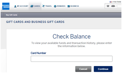 Balance Check on American Express Gift Card