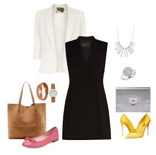Vestido midi preto com blazer branco. Para trabaçlhar uma mala de ombro camel, umas sabrinas rosa e um relógio casual. Para o evento um colar , uns pumps amarelos, uma clutch prateada e um anel.