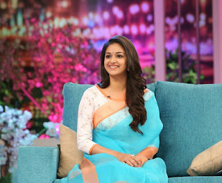 Keerthy Suresh in Blue Saree with Cute and Awesome Lovely Smile at Memu Saitham Season2