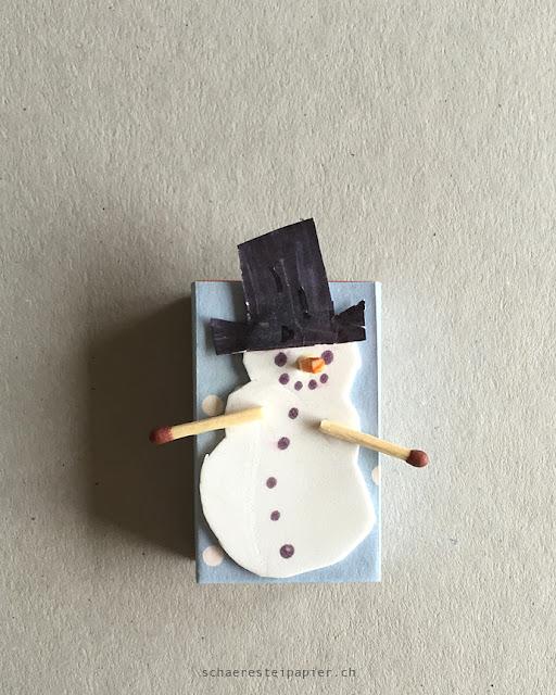 schaeresteipapier der schneemann mit dem vogel auf dem hut. Black Bedroom Furniture Sets. Home Design Ideas