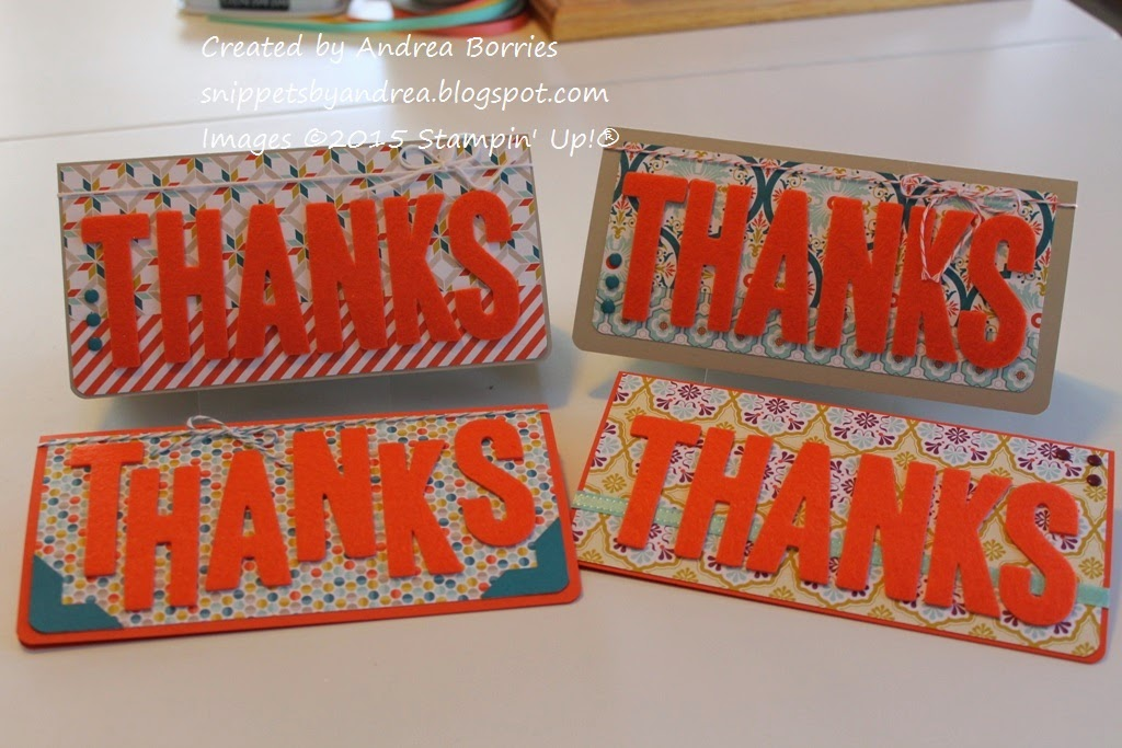 "Thank-you cards (3-1/4"" x 6-1/2"") made with February 2015 Paper Pumpkin kit and Sycamore Street Designer Series Paper."