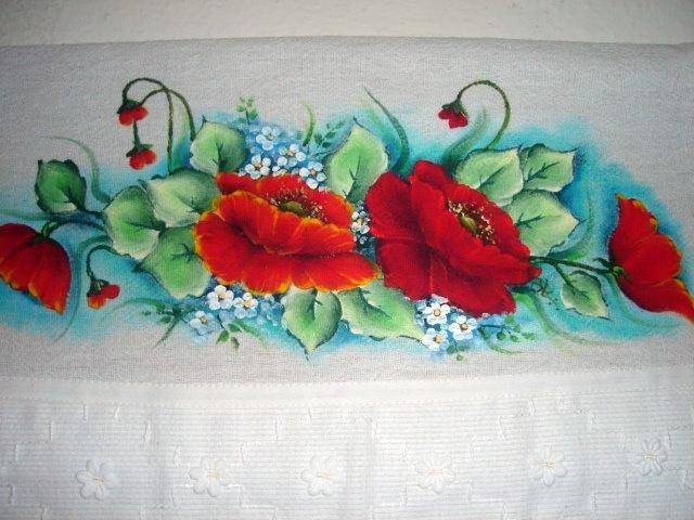 pintura em tecido pano de prato papoulas