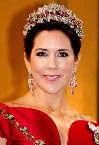 Crown Princess Mary wore Soeren le Schmidt dress, diamond tiara