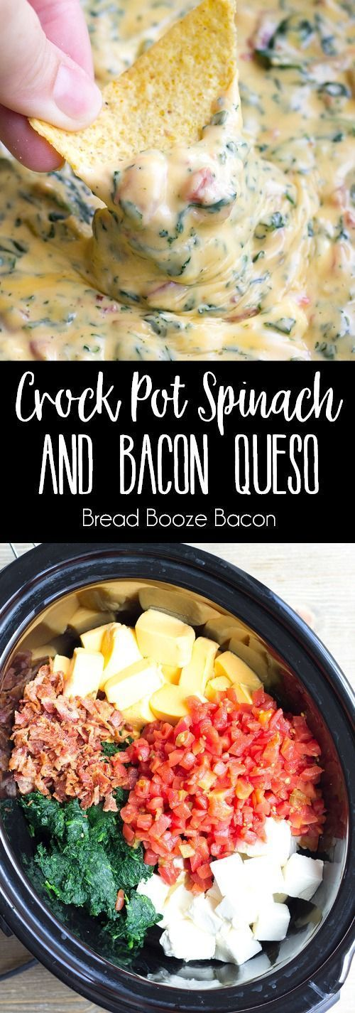 Crock Pot Spinach & Bacon Queso Dip