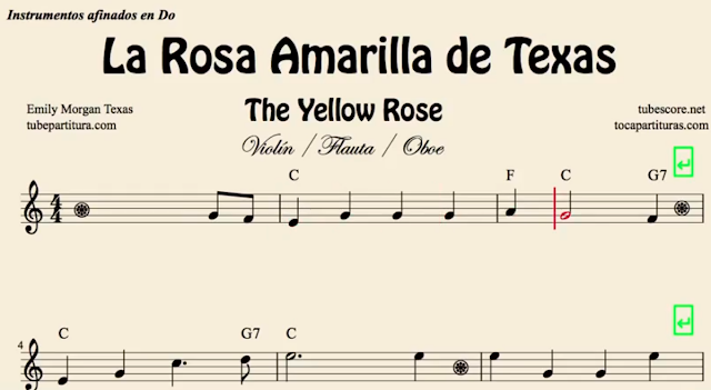 10 Partituras Populares Tradicionales  5º Partituras de LA ROSA AMARILLA DE TEXAS, YELLOW ROSE OF TEXAS music scores