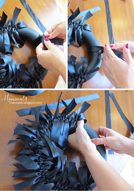 Black ribbon wreath - DIY tutorial pictures