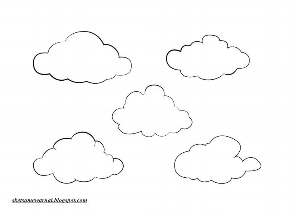 sketsa mewarnai gambar awan