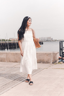 Jadoregrace.com // Taking the Boston Ferry to Charlestown from Longwharf and White Dress with Target