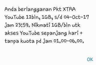 xtra youtube 1 tahun kartu XL berhasil di aktivasi