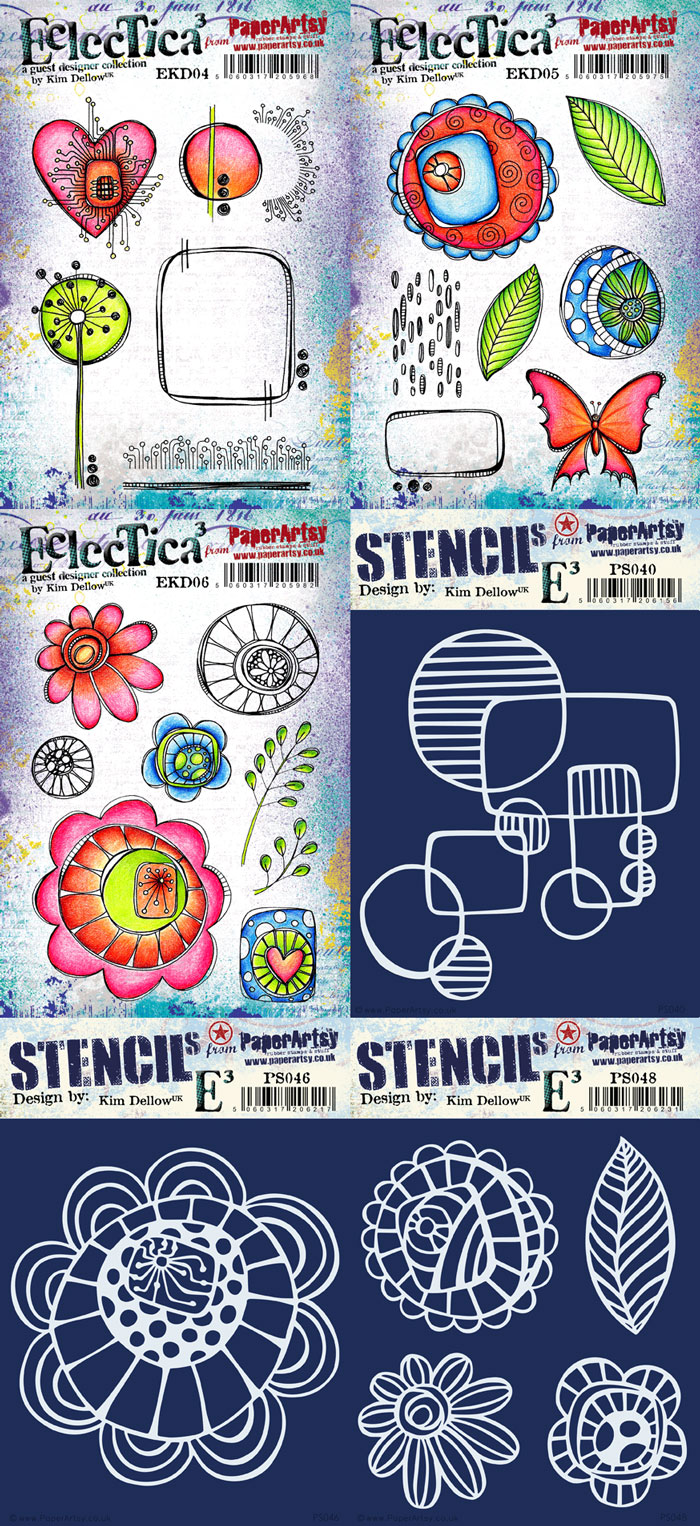 New PaperArtsy Eclectica³ {Kim Dellow} Stamp And Stencil Release February 2017
