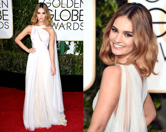 Lily James in Marchesa - Golden Globe Awards 2016