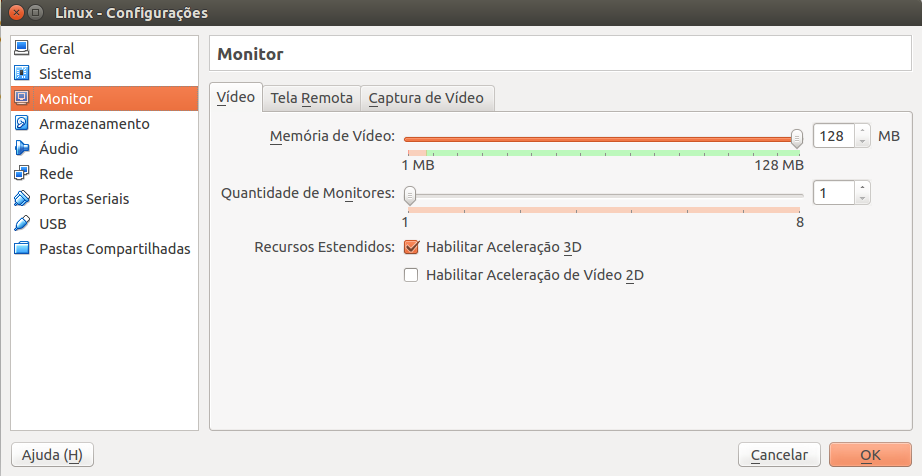memória de vídeo do virtualbox