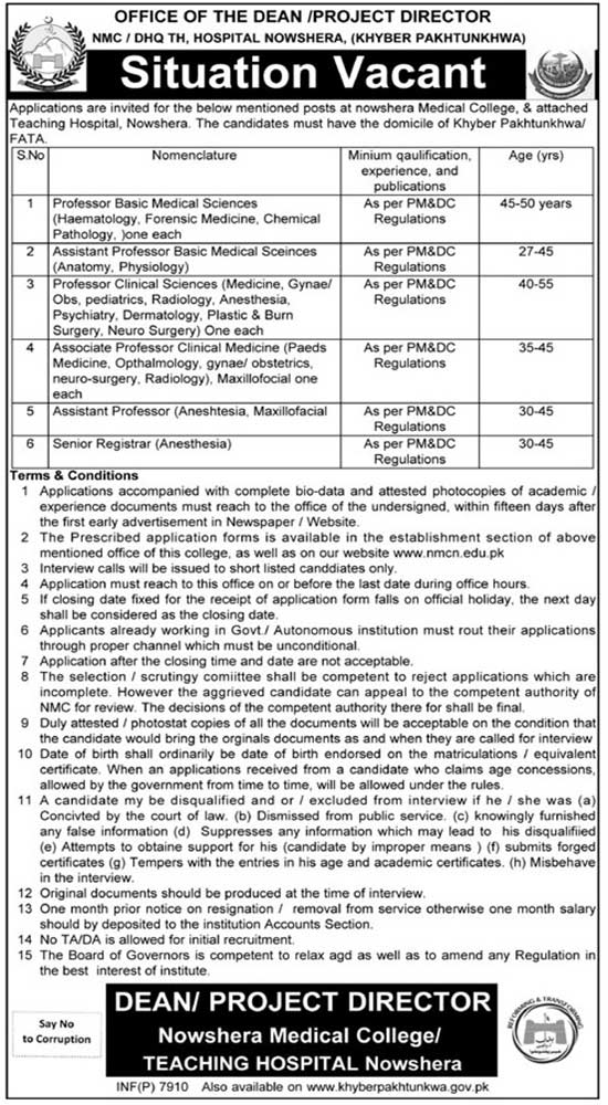 Nowshera Medical College and Teaching Hospital Latest Jobs