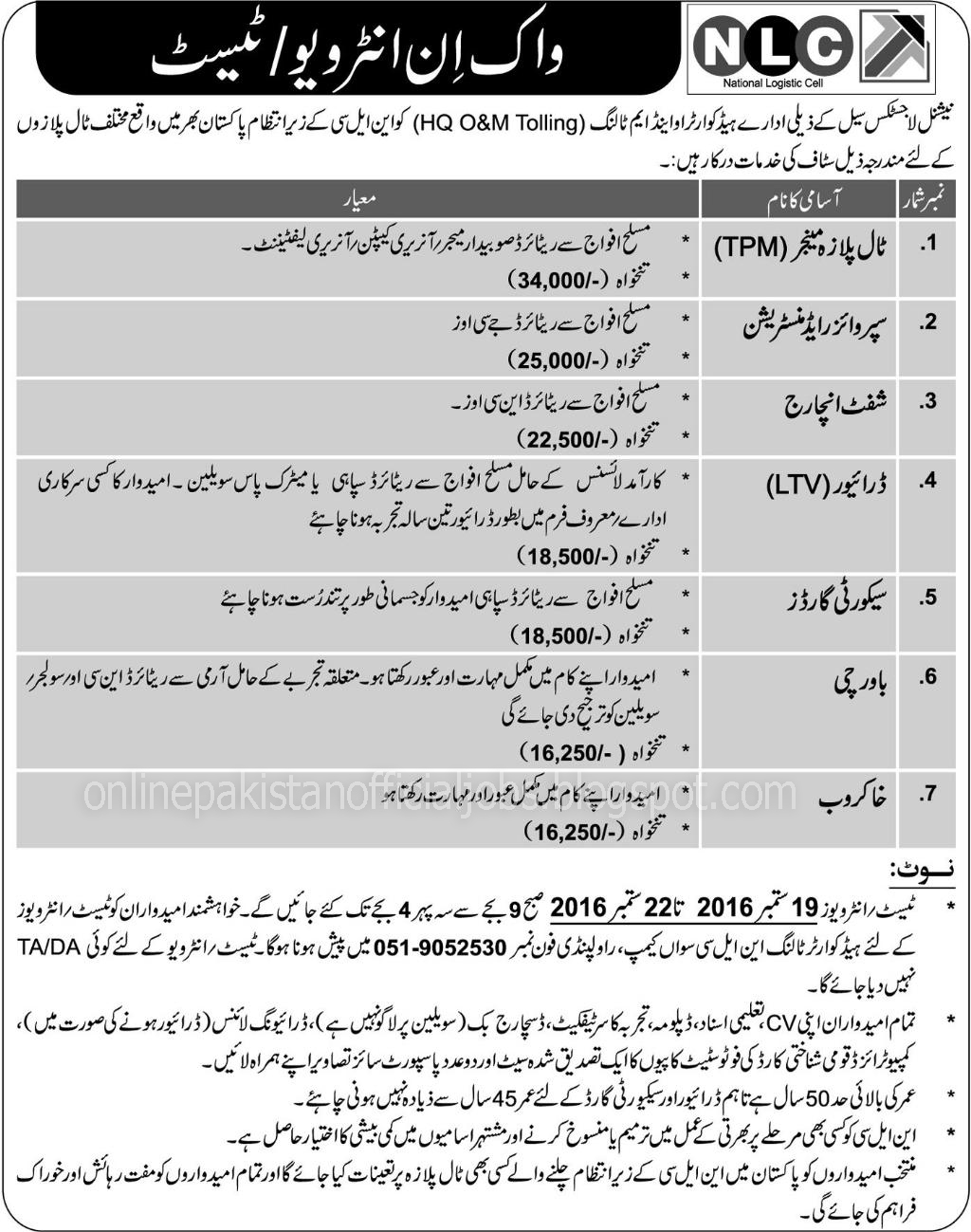 7 New Jobs in National Logistic Cell NLC Jobs