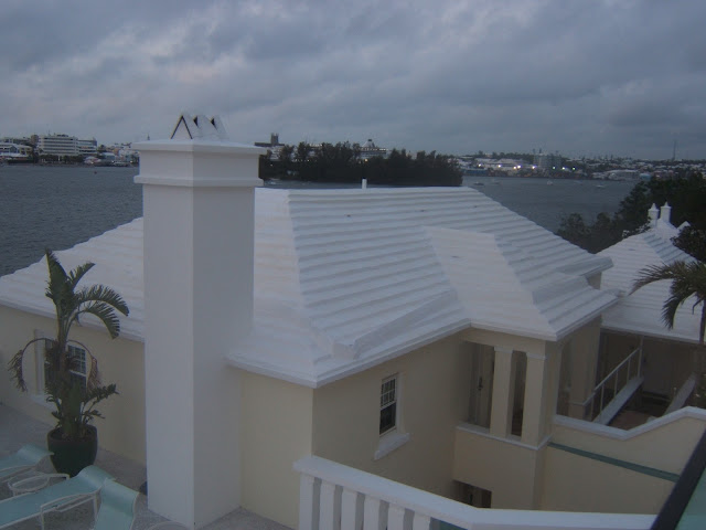 White Bermuda roof used for catching water