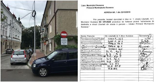 Locuitorii de pe strada Libertății se opun categoric parcării private pentru șefii Prefecturii și Consiliului Județean Suceava