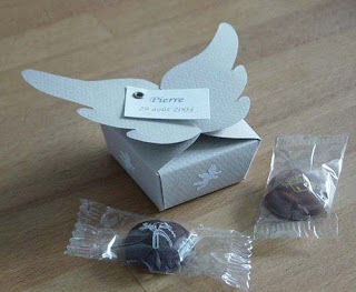 Template for Wrapped Box whit Wings for First Communion Souvenirs.