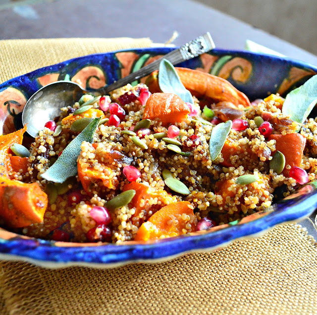 Toasted Quinoa with Roasted Pumpkin and Dates and Sage is an awesome fall dish. Plus it's pretty too! www.thisishowicook.com #quinoa #sidedish #recipe