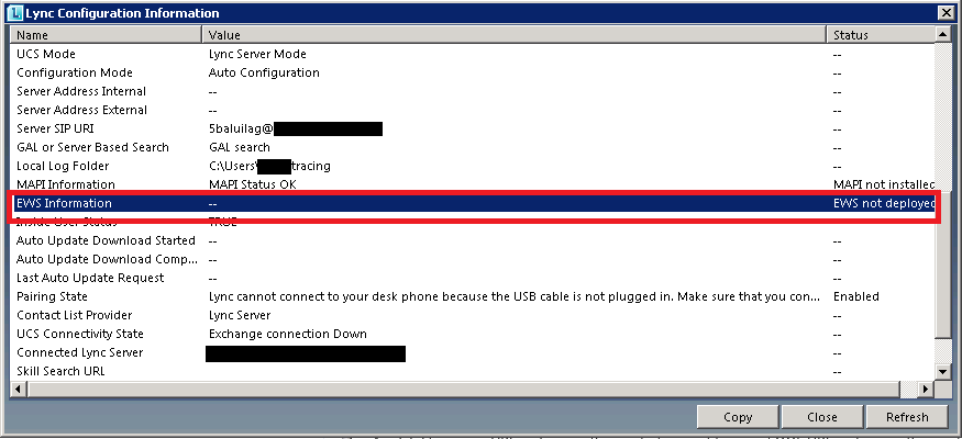 Exchange Web Services was not showing in Lync configuration
