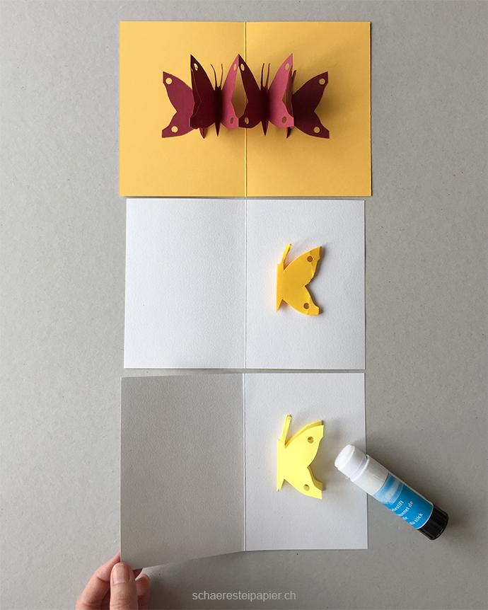 schaeresteipapier pop up karte mit schmetterlingen. Black Bedroom Furniture Sets. Home Design Ideas