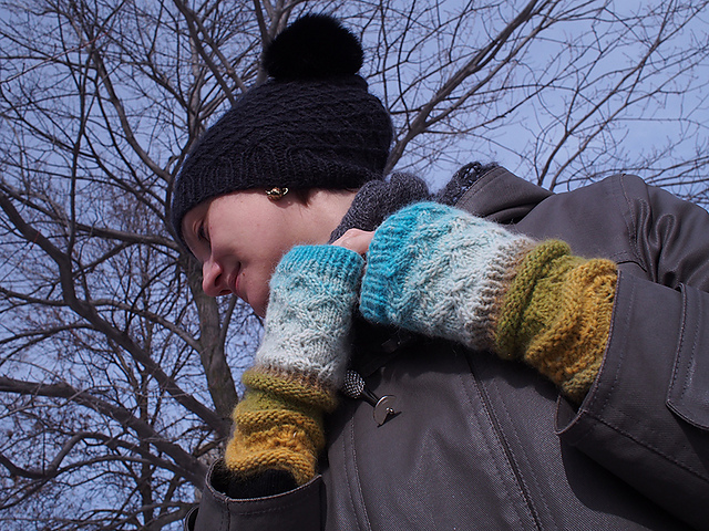 Earth to Sky Mitts in Noro Shiraito, knit by blogger Dayana Knits