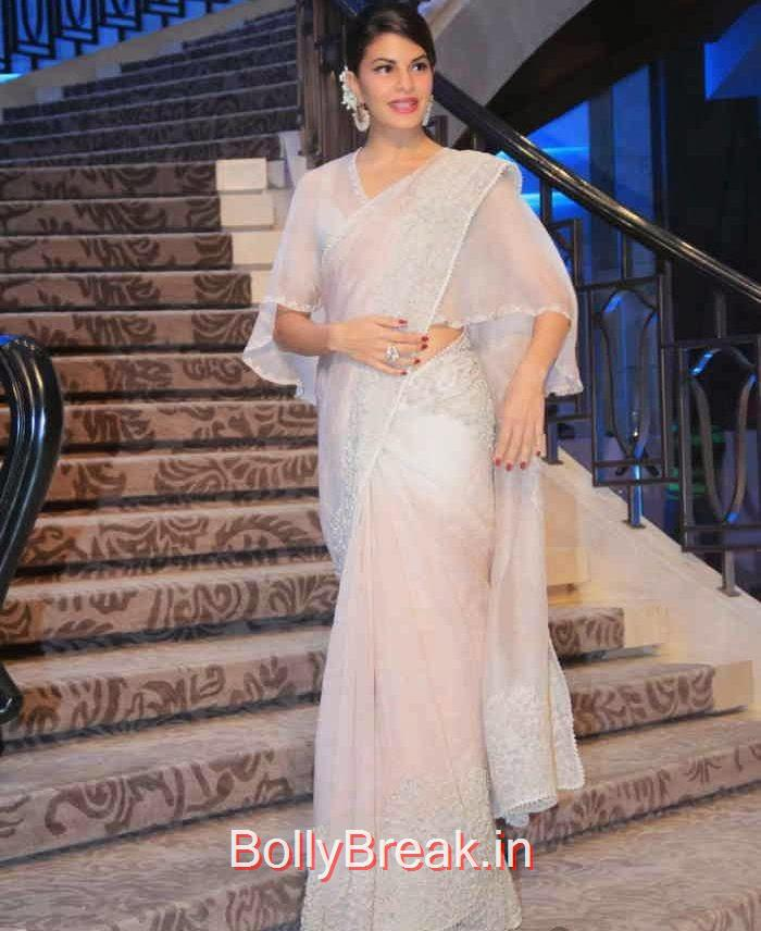 Jacqueline Fernandez Stills in Saree, Jacqueline Fernandez in White Saree at Lakme fashion Week 2015